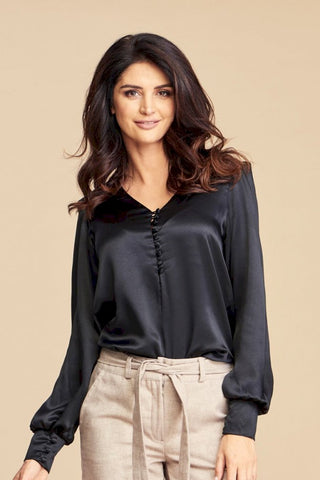 Black Full Sleeves Silk Shirt Penelopa by Angell