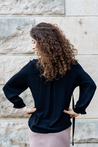 Black Full Sleeves Shirt with Binding by Angell