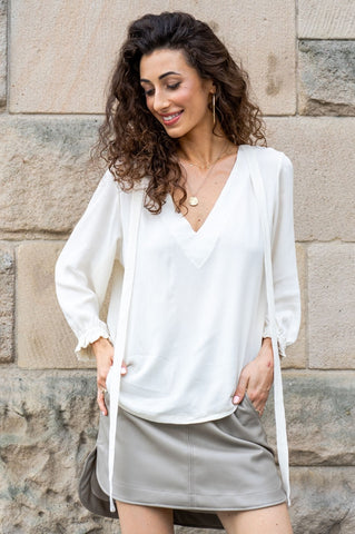 White Full Sleeves Shirt with Binding by Angell