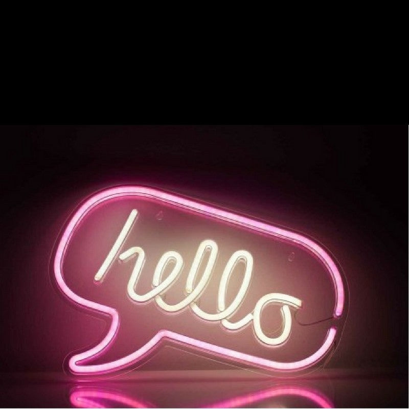 Hello Neon LED Wall Art by gingersnap on OOSTOR.com