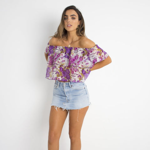 Purple Sparkle Floral Crop Top by Wired Angel Ltd on OOSTOR.com
