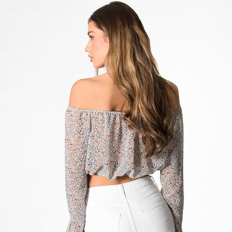 Long Sleeve Ditsy Crop Top by Wired Angel Ltd on OOSTOR.com