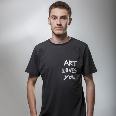 Men's Black Art Loves You T-Shirt by Vedrana Mastela on OOSTOR.com