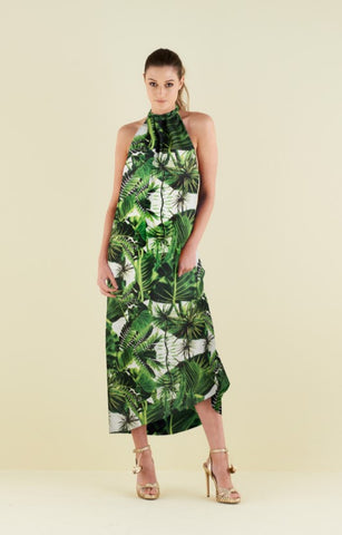 Lullah Halter Dress in Tropical Palm Print by CoCo VeVe on OOSTOR.com
