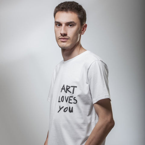Men's White Art Loves You T-Shirt by Vedrana Mastela on OOSTOR.com