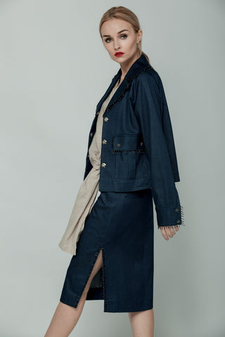 Denim jacket with embellished details by dieuANH on OOSTOR.com