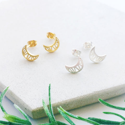 Mahina Crescent Moon Stud Earrings by Eclectic Eccentricity on OOSTOR.com