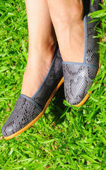 Anaken Grey Snake Print Loafers by SEIRA ELVES on OOSTOR.com