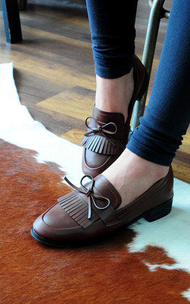 Quincy Brown Top Tassels Feminine Bow Loafers by SEIRA ELVES on OOSTOR.com