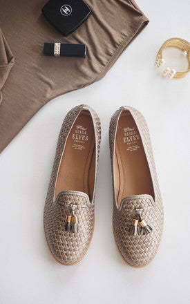 Heather Crochet Grey Weaving Texture Loafers by SEIRA ELVES on OOSTOR.com