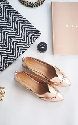 Liberty Pink Gold Metallic Loafers by SEIRA ELVES on OOSTOR.com