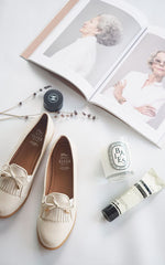 Audrey Beige With Feminine Bow Loafers by SEIRA ELVES on OOSTOR.com