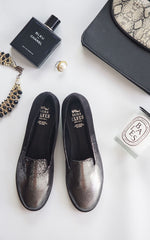 Ava Sneakers Black And Silver Velvet Loafers by SEIRA ELVES on OOSTOR.com