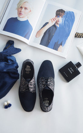 Brogan Navy Sparkle Oxford Loafers by SEIRA ELVES on OOSTOR.com