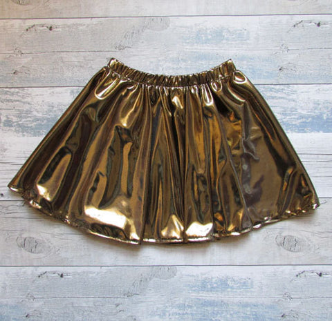 Girls Party Metallic Circle Skirt