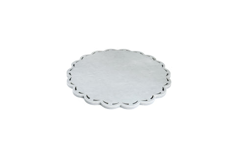 Round Marble Platter with Lace Edge in Grey