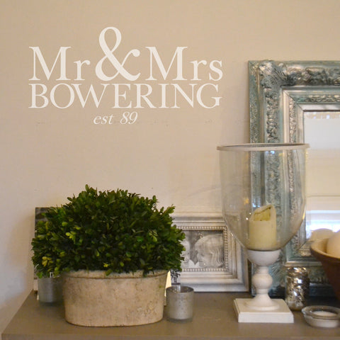 Mr & Mrs Personalised Wall Sticker