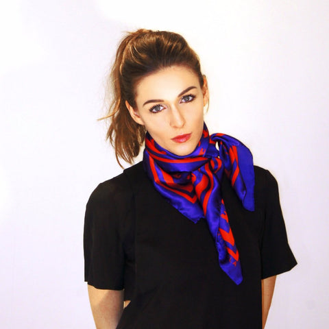 Emma Scarf Blue/Red