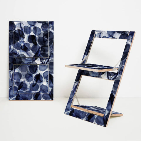 Fläpps Folding Chair - Indigo Bubbles Patterned by Ambivalenz