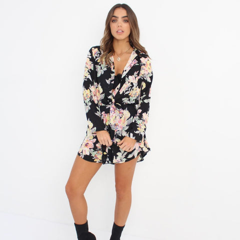 Floral Chiffon Shirt Dress by Wired Angel Ltd on OOSTOR.com