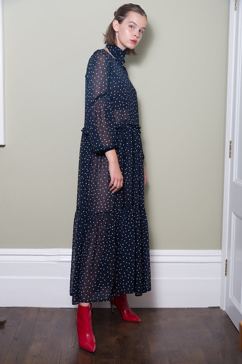 Black Polka Dot Maxi Dress With Frill Detail by Minkie London on OOSTOR.com