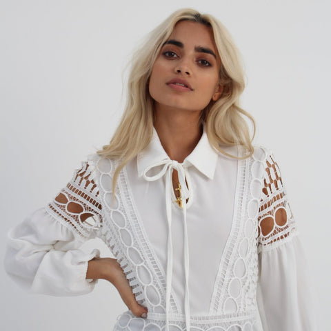 White Detailed Shirt Dress by Wired Angel Ltd on OOSTOR.com