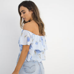 Blue Floral Crop Top by Wired Angel Ltd on OOSTOR.com