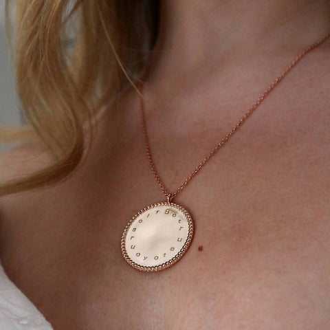 'Be True To Yourself' Engraved Coin Necklace