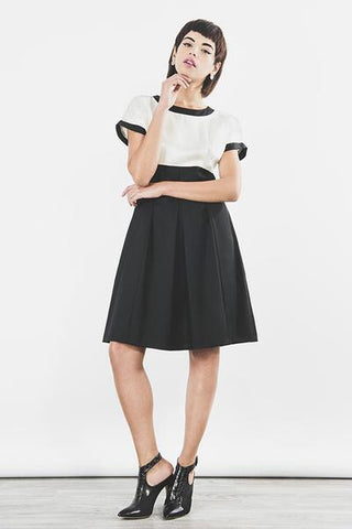 Outsider monochrome shift dress in black and off white by Outsider Fashion on OOSTOR.com