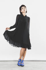 Outsider silk shirt dress with georgette sleeves in black by Outsider Fashion on OOSTOR.com