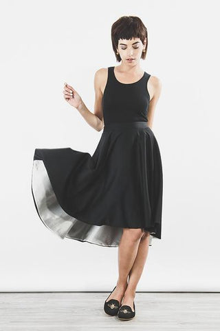 Outsider swing skirt in black organic wool by Outsider Fashion on OOSTOR.com