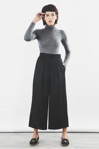 Outsider organic merino wool culotte trousers in black by Outsider Fashion on OOSTOR.com