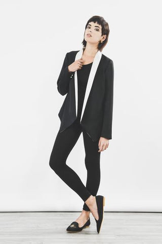 Outsider monochrome tux jacket in black and off white