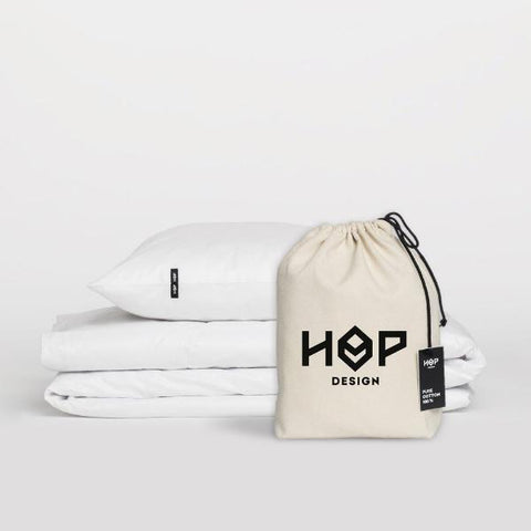 White Pure Cotton Duvet Cover by HOP Design on OOSTOR.com