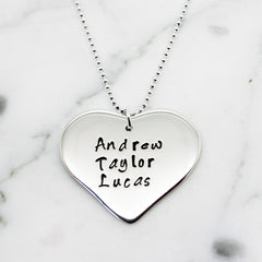 Personalised Love Heart Sterling Silver Necklace