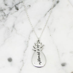 Personalised Pineapple Sterling Silver Necklace by Hilary & June on OOSTOR.com
