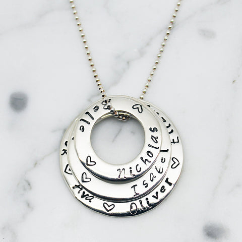 "Triple ""Circle Of Love"" Personalised Pendant Necklace"