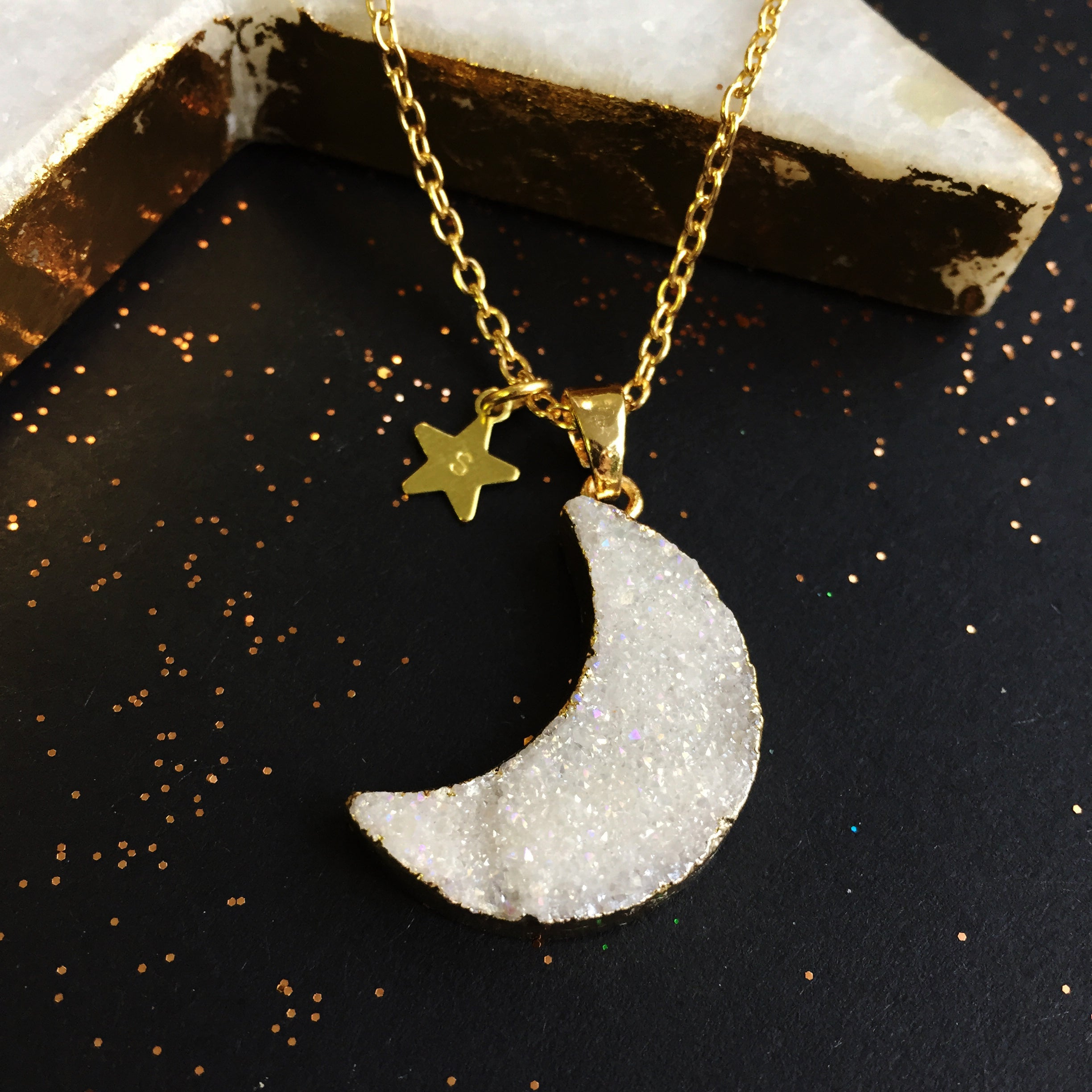 Personalised Druzy Quartz Moon Phase Necklace by Eclectic Eccentricity on OOSTOR.com