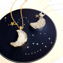 Personalised Druzy Quartz Moon Phase Necklace