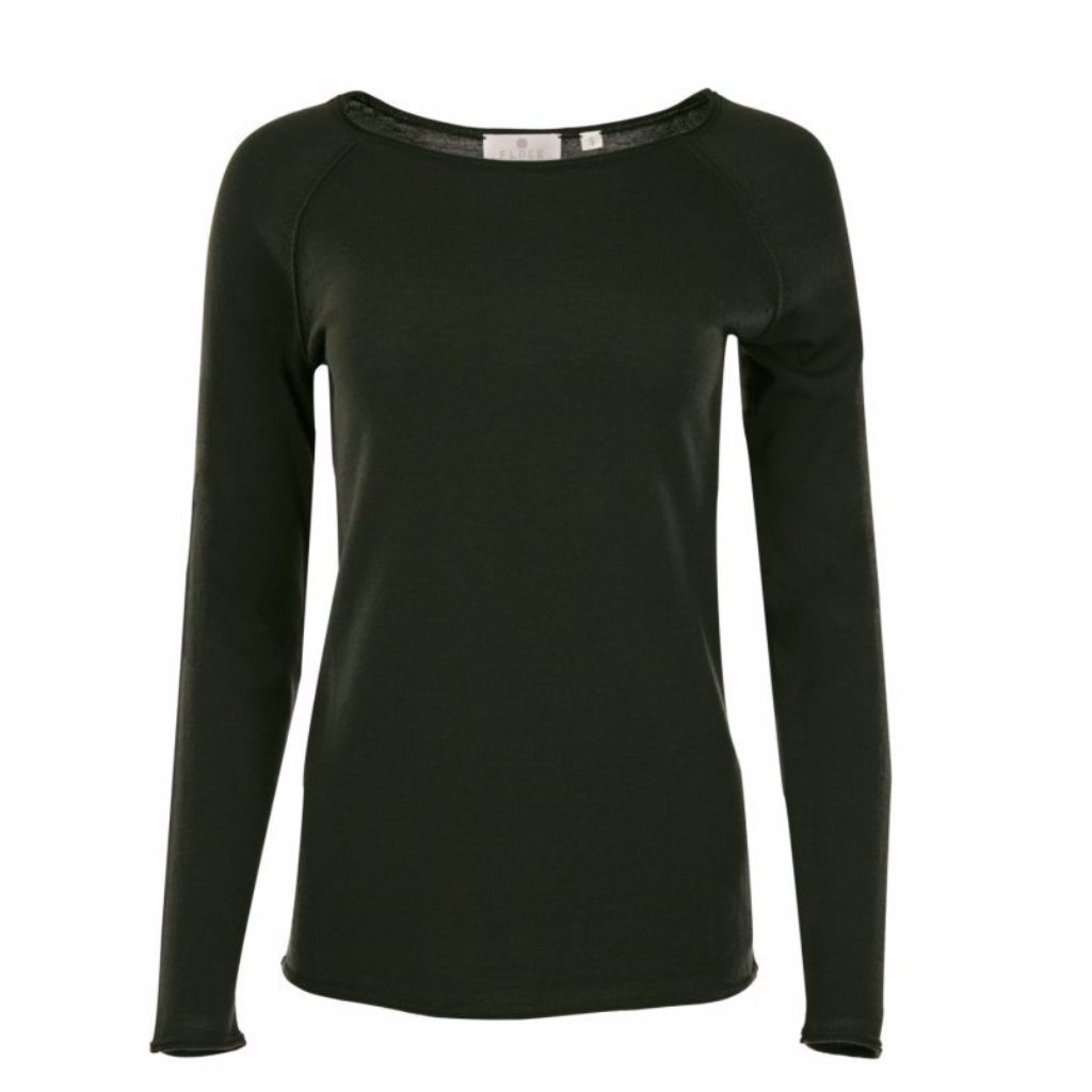 Forest Green Phoebe Merino Raglan Top by Flock By Nature on OOSTOR.com