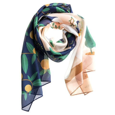 The Flower Peach Silk Scarf by Baba Yaga on OOSTOR.com