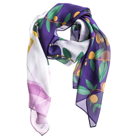 The Flower Purple Silk Scarf by Baba Yaga on OOSTOR.com