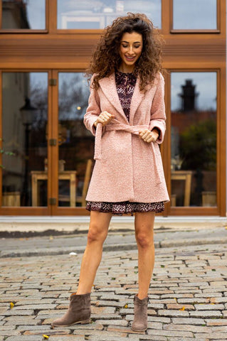 Italy Large Collar Pink Coat with Pockets