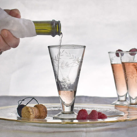 Vintage Style Engraved and Etched Prosecco Glasses by Hunter Gatherer on OOSTOR.com