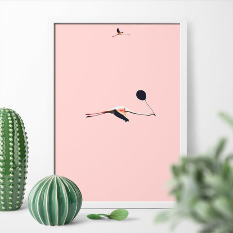 Fly Flamingo Print by Action Zebra on OOSTOR.com
