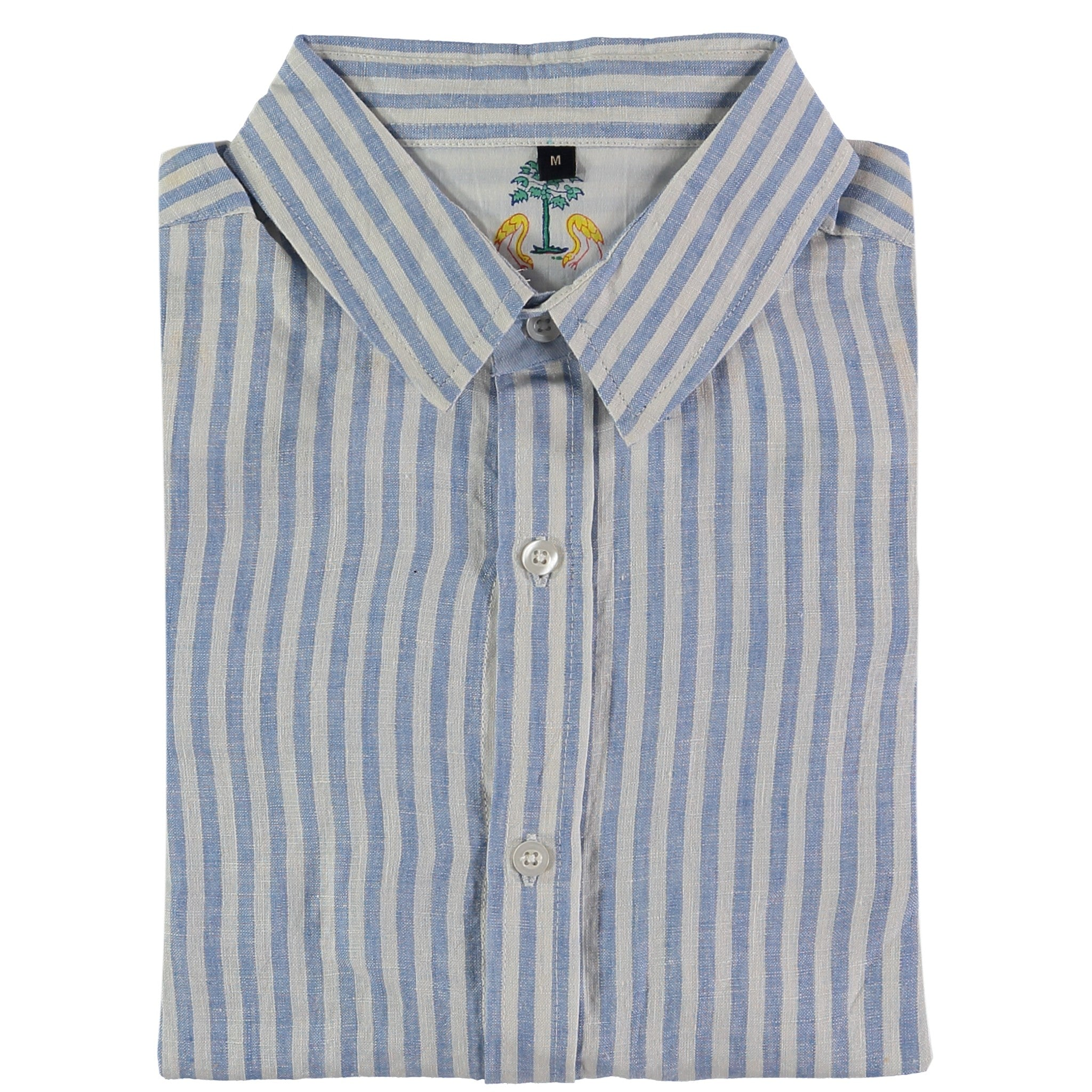 Kutch Blue Stripe Linen Shirt by Tobias Clothing on OOSTOR.com