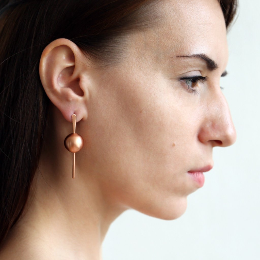 Copper & Sterling Silver Stud Earrings - UOGA collection by Studio Beate Snuka on OOSTOR.com
