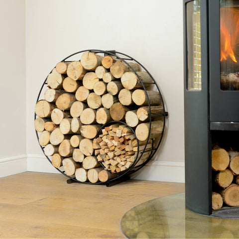 Round Metal Log and Kindling Holder by Hunter Gatherer on OOSTOR.com
