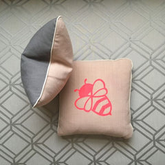 Dusky Pink Bessie Bumblebee Cushion by Burch and Brown available on OOSTOR.com