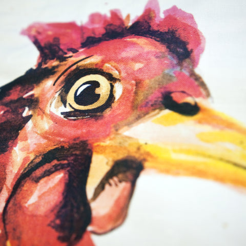 Inky Chicken Cushion by Kate Moby on OOSTOR.com